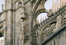 Fragment of Duomo Cathedral in Milan Stock Photography