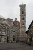 The fragment of Duomo Santa Maria del Fiore, Baptistery of San Giovanni and Giotto`s Bell tower, Florence, Italy Stock Image