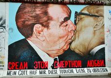 Fragment of the East Side Gallery exhibition, Berlin wall, Germany. Royalty Free Stock Image