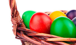 Fragment of easter eggs in a basket. Royalty Free Stock Photography