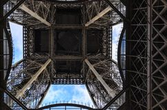 Fragment of the Eiffel Tower against the sky. stock photo