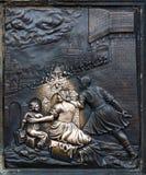 Fragment einer mittelalterlichen Plakette Stockbild