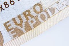 Fragment eines EURObanknotenhintergrundes Bargeld, Europäische Gemeinschaft, MO Stockbilder
