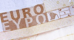 Fragment eines EURObanknotenhintergrundes Bargeld, Europäische Gemeinschaft, MO Lizenzfreie Stockfotos