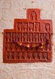 Fragment eines Flachreliefs auf der Wand in Mehrangarh-Fort, Jodhpur Stockfotografie