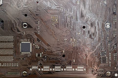 Fragment of electronic board with chip and other electronic comp Royalty Free Stock Image