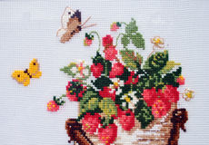 Fragment embroidered cross-stitch pattern Royalty Free Stock Photo