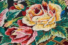 Fragment of embroidery (the rear face) Royalty Free Stock Image