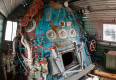 Fragment of engine room on old  locomotive Royalty Free Stock Photography