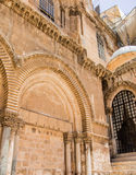 Fragment the entrance to the Church of the Holy Sepulchre Jerusa Royalty Free Stock Image
