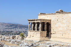 Fragment of Erechtheum ancient greek temple. At acropolis of Athens in summer, Greece Stock Images