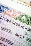 Fragment of European Multi Schengen visa Stock Photography