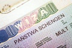 Fragment of European Multi Schengen visa Stock Photos