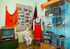Fragment of the exhibition devoted to the times of the USSR. Zadonsk Local History Museum. Zadonsk, Russia - August 28, 2018: Fragment of the exhibition devoted stock images