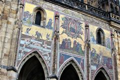 Prague, Czech Republic, January 2015. Fragment of the facade of the Cathedral of St. Vitus with medieval frescoes. stock images
