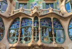 Fragment of the facade of the famous Casa Batllo, building designed by Antoni Gaudi and one of main tourist attractions in. Barcelona, Spain - October 21, 2013 royalty free stock image