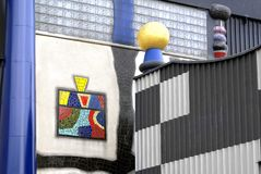 Fragment  of the facade of the incinerator Shpitelau in Vienna Stock Photography