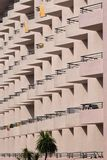 Fragment of the facade of a multi-storey residential building. Royalty Free Stock Photo
