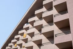 Fragment of the facade of a multi-storey residential building. Royalty Free Stock Photography
