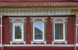 Fragment of facade of one of the houses in the Semenov city. Nizhny Novgorod Region, Russia. Stock Photos