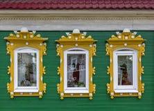 Fragment of facade of one of the houses in the Semenov city. Nizhny Novgorod Region, Russia. Stock Image