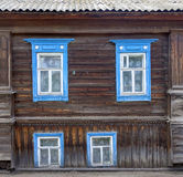 Fragment of facade of one of the houses in the Semenov city. Nizhny Novgorod Region, Russia. Royalty Free Stock Photos