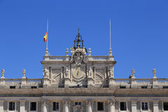 Fragment of facade of the Royal Palace in Madrid Stock Images