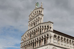 Fragment of facade of San Michele in Foro. Medieval church. Lucca. Italy. Royalty Free Stock Image
