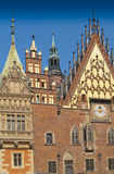 Fragment of facade of Wroclaw Town Hall Stock Photo