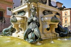 A fragment of the famous Neptune fountain in Bologna, Italy. royalty free stock photo