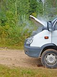 Fragment of faulty car. Smoke from under a cowl. stock photography