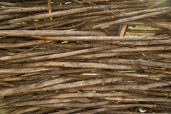 Fragment of a fence from branches woven together. Stock Photo