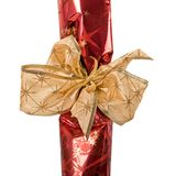 Fragment of  festive packing with golden ribbon Royalty Free Stock Image