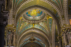 Fragment of finishing the Basilica of Notre Dame de Fourviere Royalty Free Stock Images