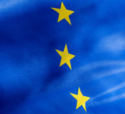 Fragment of a flag of  European Union in sunlight Royalty Free Stock Photography