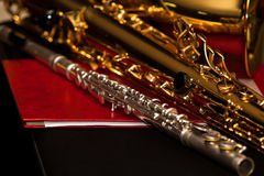 A fragment of a flute and saxophone Stock Images