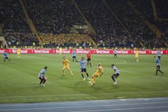 Fragment of the football match. KHARKIV, UKRAINE - SEPTEMBER 2, 2011: Fragment of the friendly match between national teams of Ukraine and Uruguay. The match was Royalty Free Stock Photography