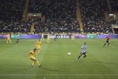 Fragment of the football match. KHARKIV, UKRAINE - SEPTEMBER 2, 2011: Fragment of the friendly match between national teams of Ukraine and Uruguay. The match was Stock Photos