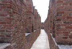 Fragment of the fortress wall Castelvecchio castle in Verona. It Royalty Free Stock Photography