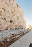 Fragment of the fortress wall facing on HaTsanhanim street in  old city in Jerusalem Near the New Gate Stock Photography