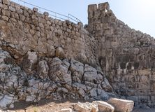 Fragment of the fortress wall near the secret entrance to Nimrod Fortress located in Upper Galilee in northern Israel on the borde. R with Lebanon royalty free stock photo