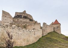 Fragment of the fortress wall of the Rupea Citadel built in the 14th century on the road between Sighisoara and Brasov in Romania Stock Image