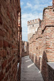Fragment of the fortress wall and watchtower in Castelvecchio ca Stock Photo