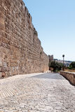 Fragment of the fortress walls near to the Zion Gate in  the old tow in Jerusalem, Israel Royalty Free Stock Image