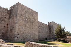 Fragment of the fortress walls  of the old tow in Jerusalem Royalty Free Stock Images