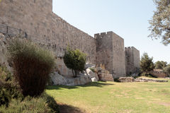 Fragment of the fortress walls of the  old tow in Jerusalem Royalty Free Stock Photo