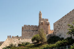 Fragment of the fortress walls of the old tow  and the tower of David in Jerusalem Royalty Free Stock Images