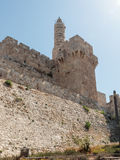 Fragment of the fortress walls of the old tow and the tower of  David in Jerusalem Stock Photos