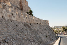 Fragment of the fortress walls of the old town near  Jaffa Gate in Jerusalem Stock Photos