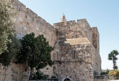 Fragment of the fortress walls of the old  town near Jaffa Gate in Jerusalem Stock Photography
